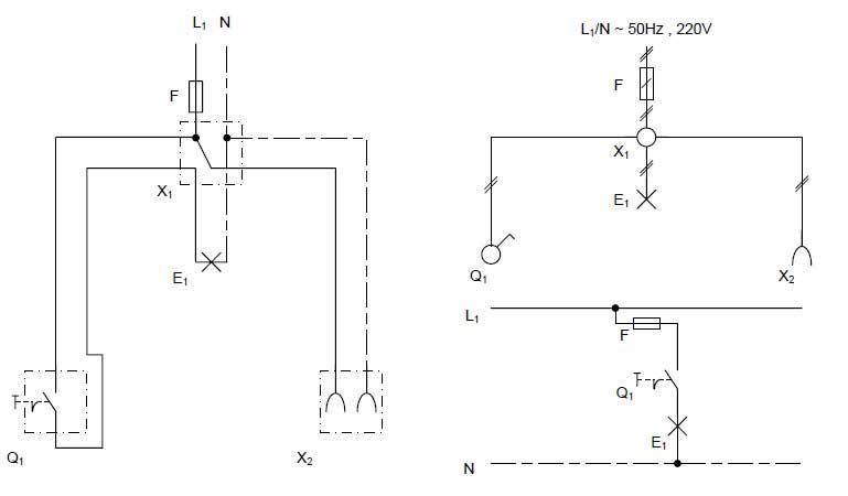 مدار الکتریکی کلید تک پل و شماهای فنی