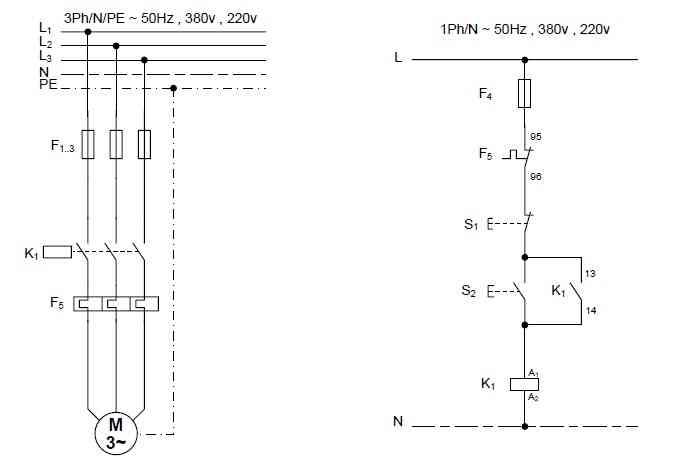 راه اندازی موتور سه فاز به صورت اتصال دائم کنترل از یک نقطه