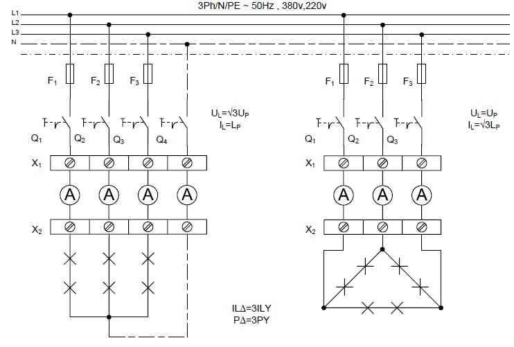 مدار الکتریکی ستاره و مثلث با لامپ