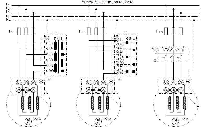 راه اندازی موتور سه فاز با استفاده از کلید های اهرمی، غلطکی و زبانه ای چپگرد و راستگرد