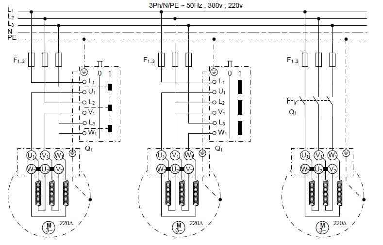 راه اندازی موتور سه فاز با کلیدهای اهرمی، زبانه ای و صفر و یک