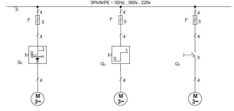 مدار فرمان راه اندازی الکتروموتورهای 3 فاز آسنگرون روتور قفسی توسط کلیدهای اهرمی،غلطکی و زبانه ای صفر و یک