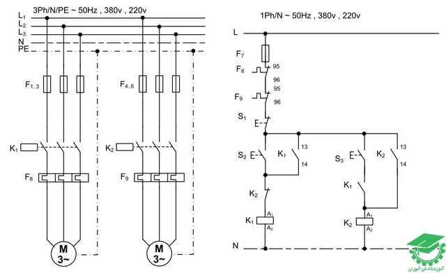 راه اندازی دو موتور یکی بجای دیگری آسنکرون به صورت ترتیبی،کنتل از یک نقطه