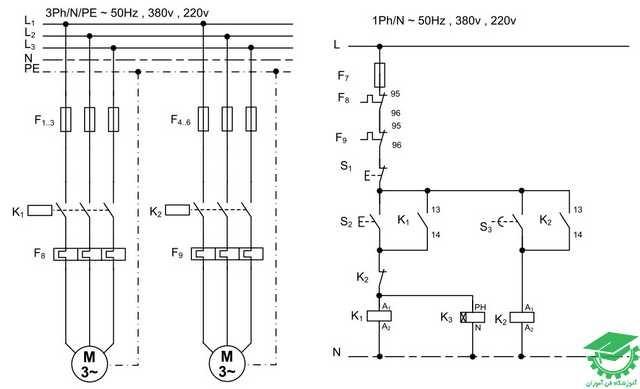 راه اندازی دو موتور آسنکرون به صورت یکی بجای دیگری،اتوماتیک