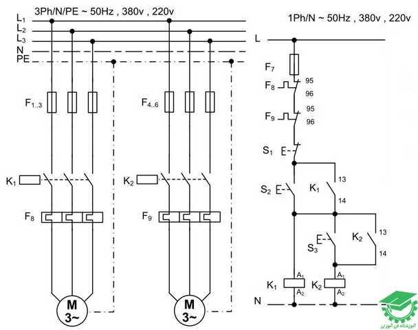 راه اندازی دو موتور آسنکرون به صورت ترتیبی،یکی پس از دیگری، کنترل از یک نقطه