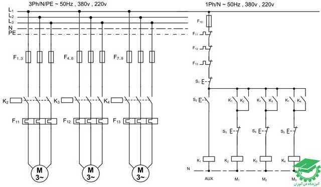 راه اندازی سه موتور آسنکرون با یک استارت و استاپ های جداگانه