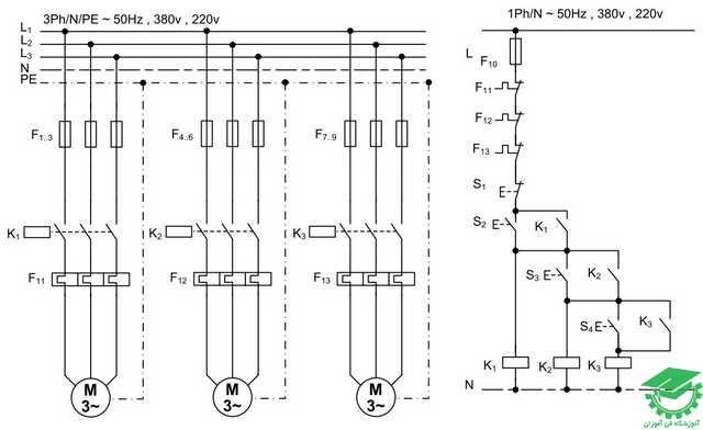 راه اندازی سه موتور آسنکرون به صورت ترتیبی،یکی پس از دیگری،کنترل از یک نقطه