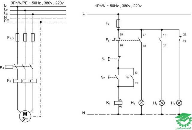 راه اندازی موتور آسنکرون القایی به صورت دائم کار با یک کنتاکتور همراه با چراغ های خبری