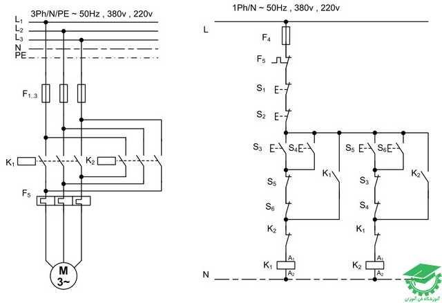 راه اندازی موتور آسنکرون با اتصال دائم چپگرد و راستگرد،با حفاظت کامل،کنترل از دو نقطه