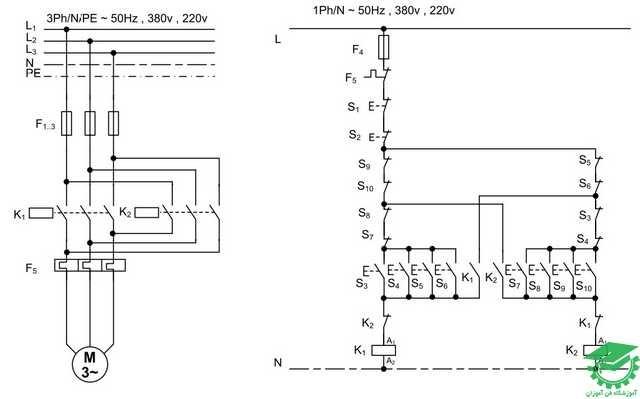 راه اندازی موتور آسنکرون با اتصال لحظه ای دائم چپگرد و راستگرد با حفاظت کامل،کنترل از دو محل