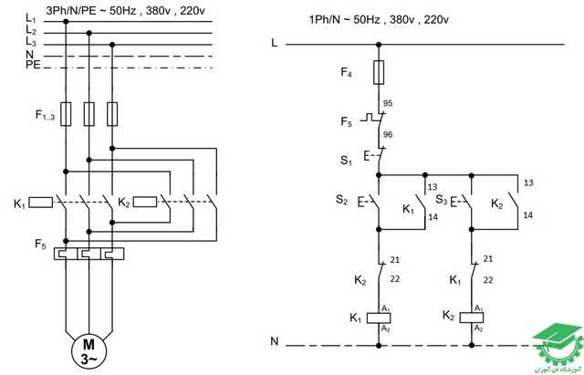 راه اندازی موتور آسنکرون با اتصال چپگرد و راستگرد با حفاظت ناقص