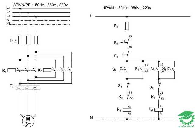 راه اندازی موتور آسنکرون با اتصال چپگرد و راستگرد سریع،کنترل از یک نقطه