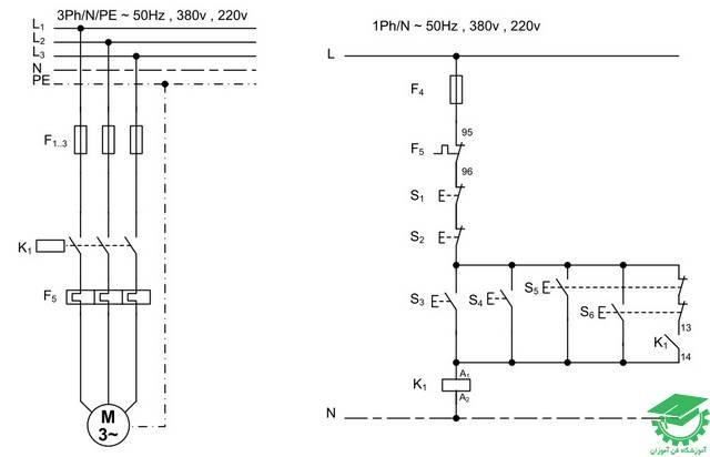 راه اندازی موتور آسنکرون با یک کنتاکتور به صورت لحظه ای و دائم از دو نقطه