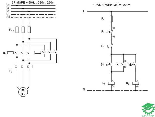 راه اندازی موتور آسنکرون به صورت لحظه ای و دائم، از یک نقطه توسط دو کنتاکتور