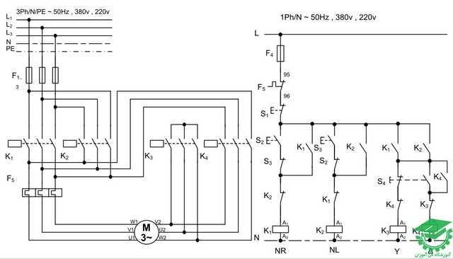 راه اندازی موتور آسنکرون به صورت چپگرد و راستگرد،ستاره مثلث