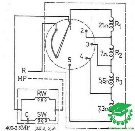 مدار الکتریکی پنکه سقفی به همراه موتور و کلید چند حالته