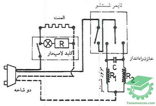 مدار الکتریکی لباسشویی سطلی پاکشوما با موتور چپگرد – راستگرد