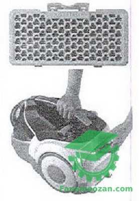 نمونه ای از یک فیلتر اسفنجی به کار گرفته شده در جارو برقی سازه