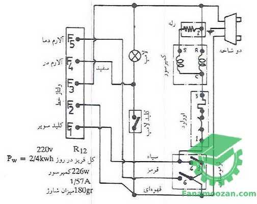B- مدار الکتریکی فریزر پارس جدید